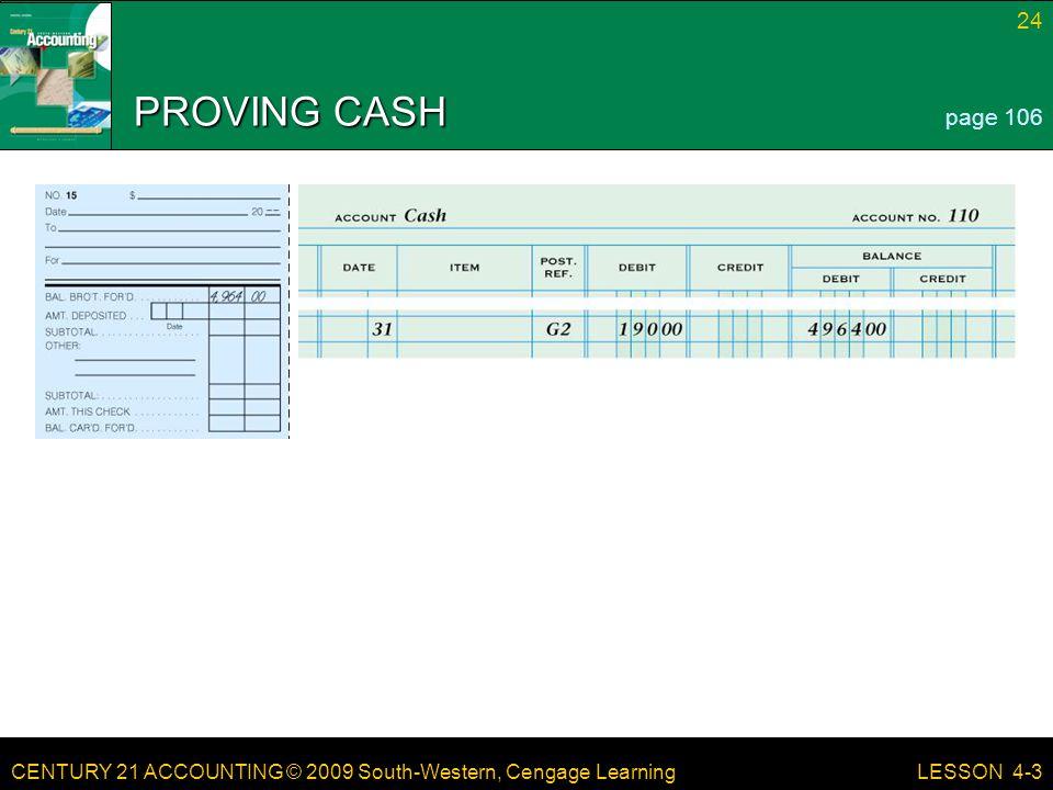 PROVING CASH page 106 LESSON 4-3
