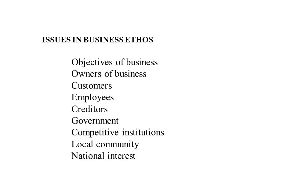 Objectives of business Owners of business Customers Employees
