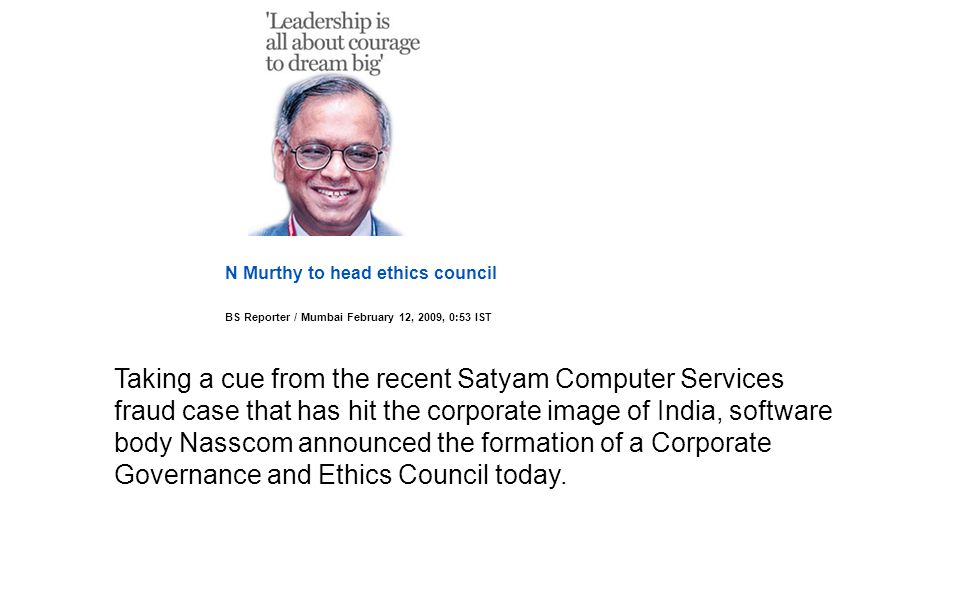 N Murthy to head ethics council