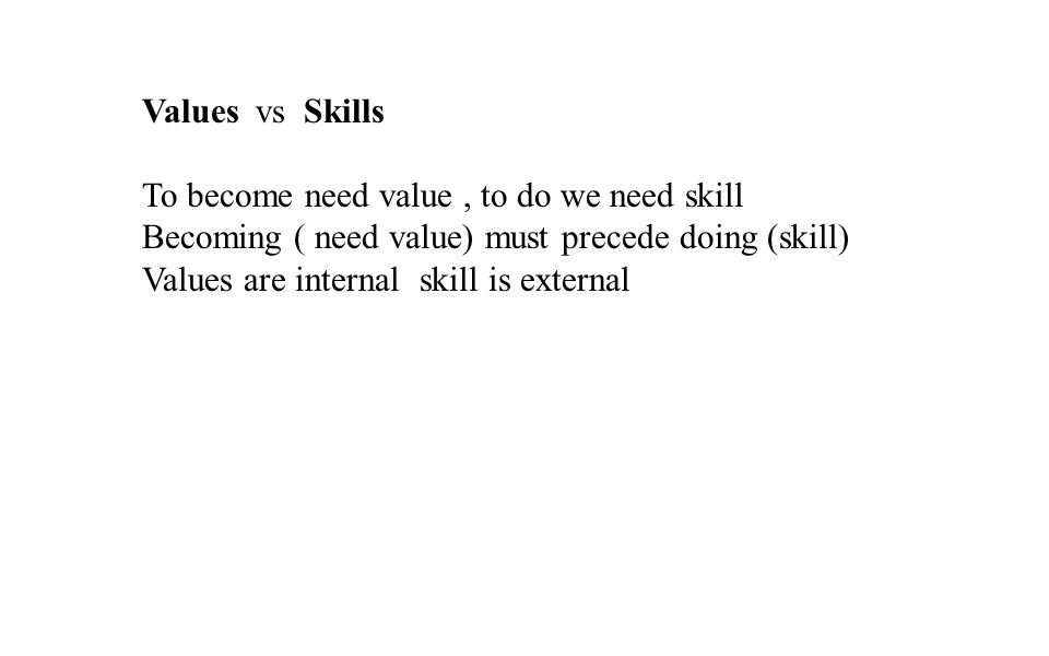 Values vs Skills To become need value , to do we need skill. Becoming ( need value) must precede doing (skill)
