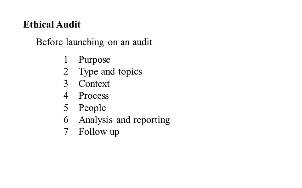 Ethical Audit Before launching on an audit. Purpose. Type and topics. Context. Process. People.