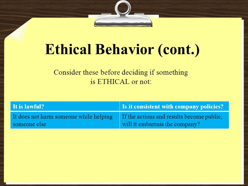 Ethical Behavior (cont.)