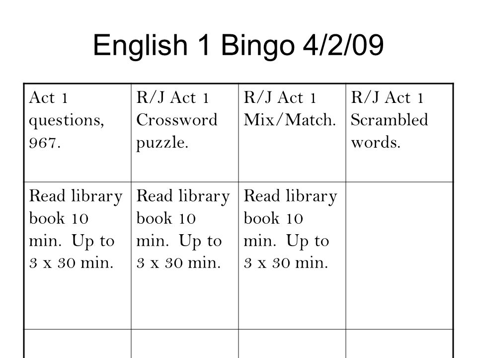 English 1 Bingo 4/2/09 Act 1 questions, 967.