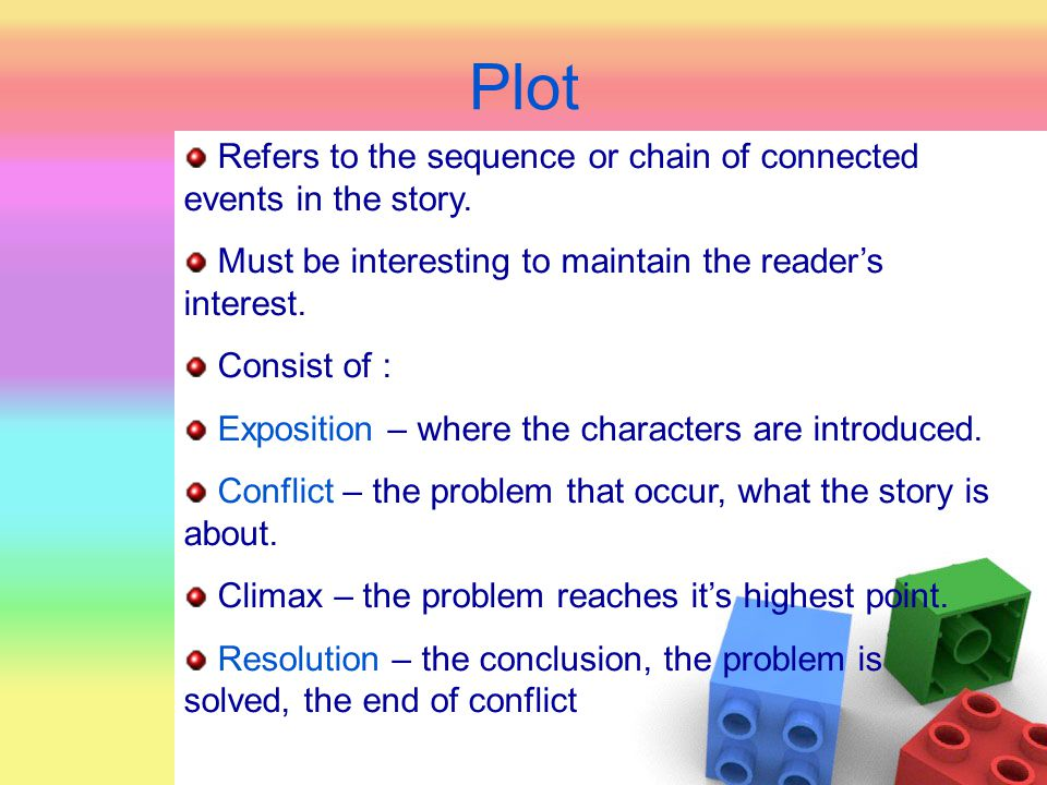 Plot Refers to the sequence or chain of connected events in the story.