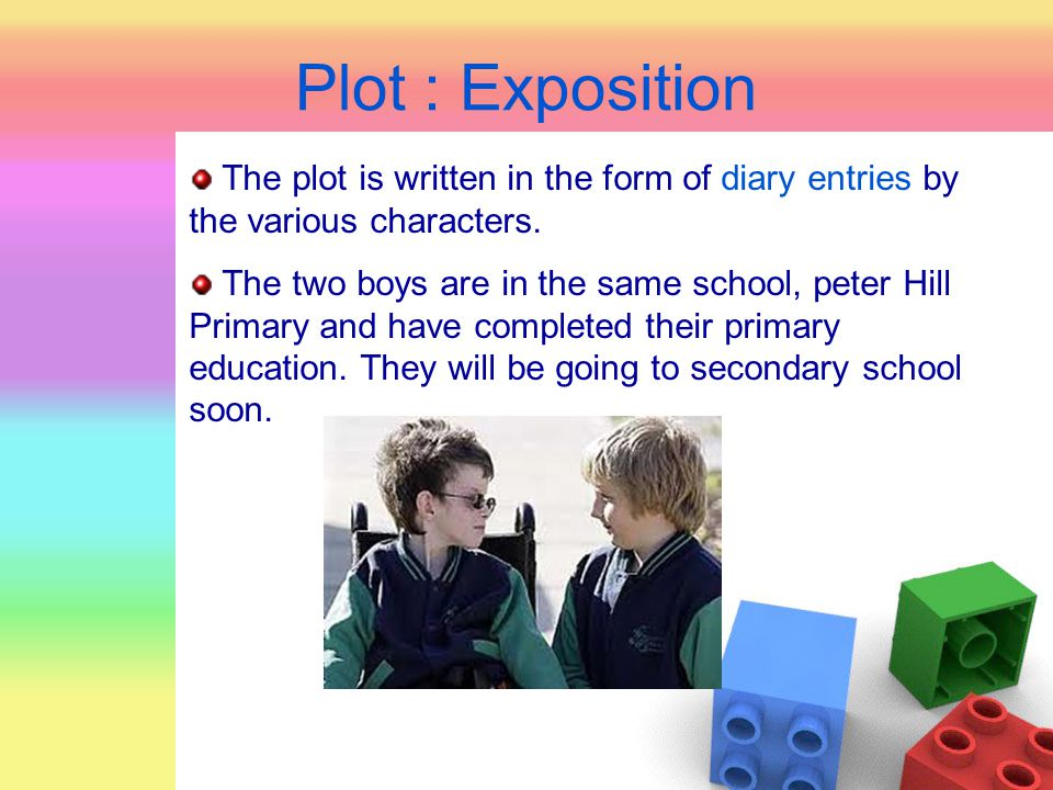 Plot : Exposition The plot is written in the form of diary entries by the various characters.