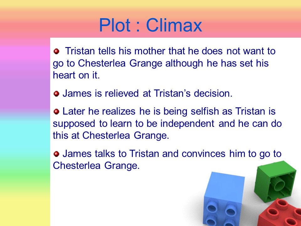 Plot : Climax Tristan tells his mother that he does not want to go to Chesterlea Grange although he has set his heart on it.