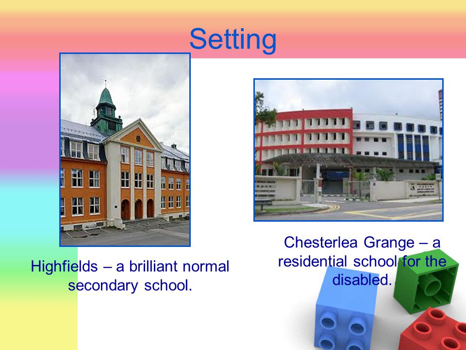 Setting Chesterlea Grange – a residential school for the disabled.
