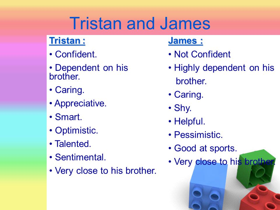 Tristan and James Tristan : Confident. Dependent on his brother.