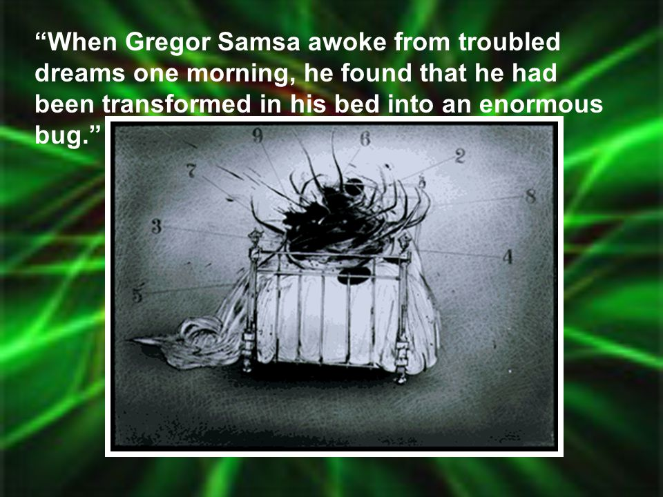When Gregor Samsa awoke from troubled dreams one morning, he found that he had been transformed in his bed into an enormous bug.