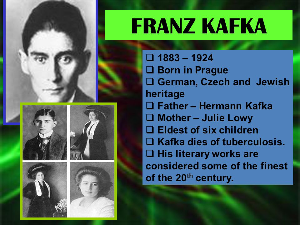 FRANZ KAFKA 1883 – 1924 Born in Prague