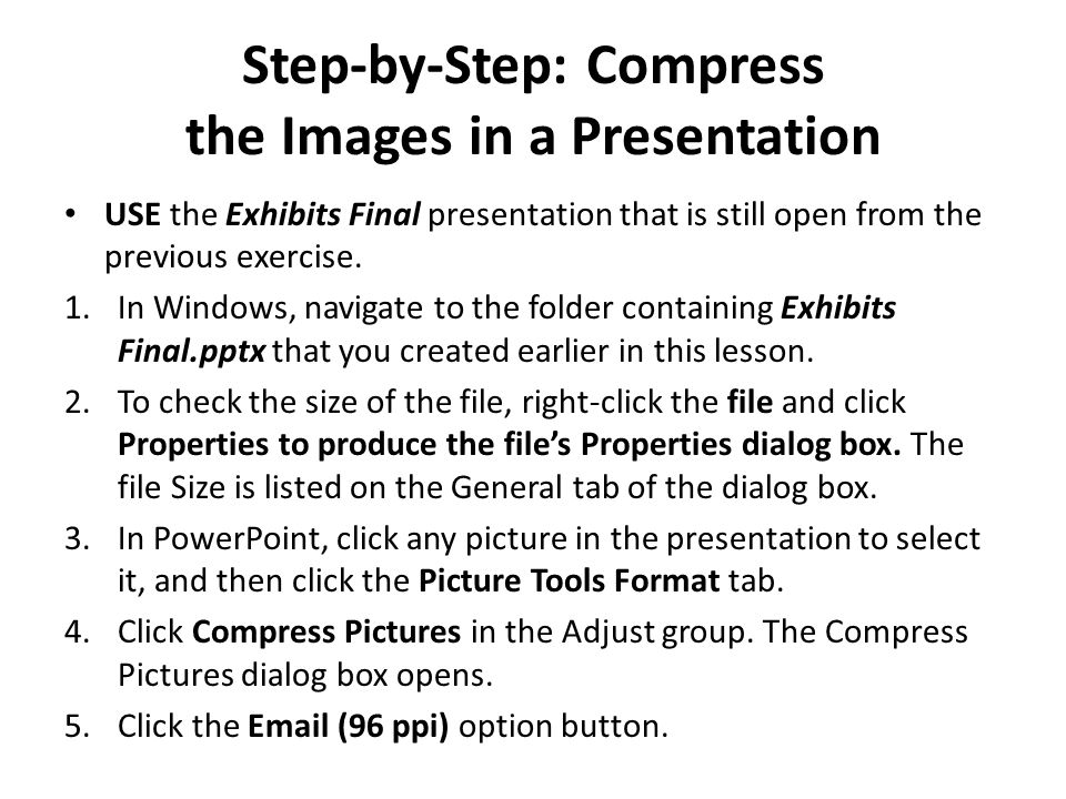 Step-by-Step: Compress the Images in a Presentation