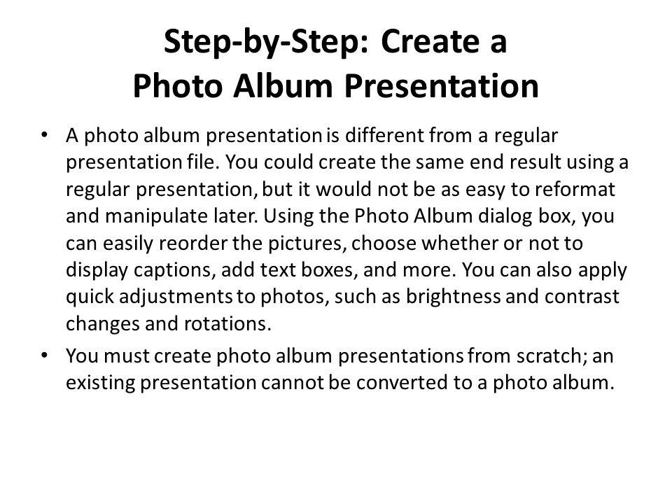 Step-by-Step: Create a Photo Album Presentation