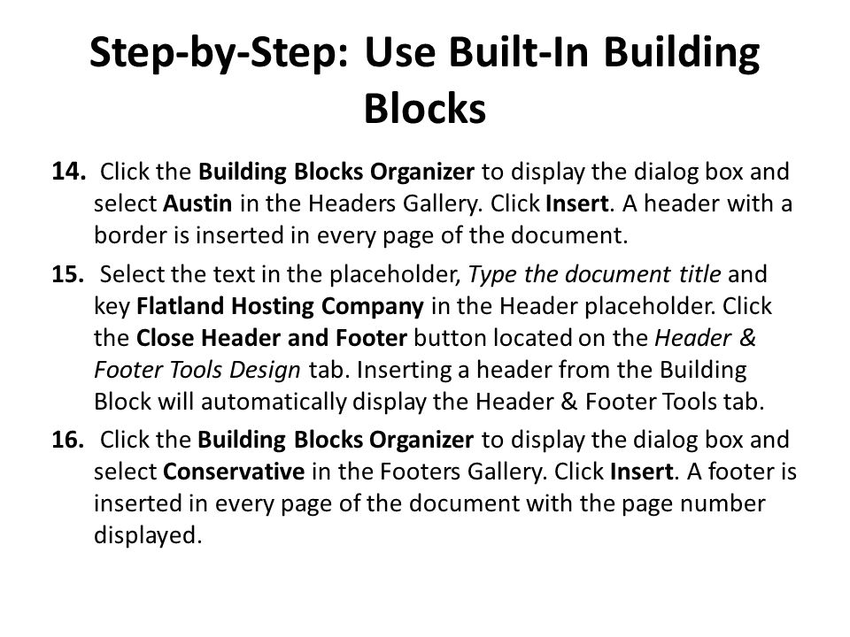 Step-by-Step: Use Built-In Building Blocks