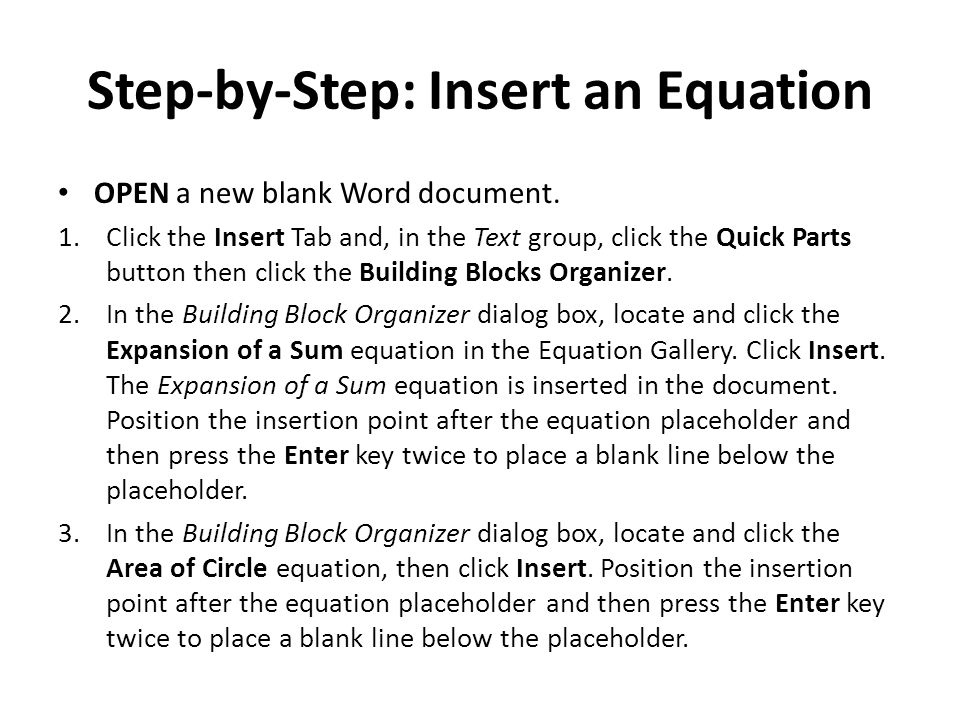 Step-by-Step: Insert an Equation