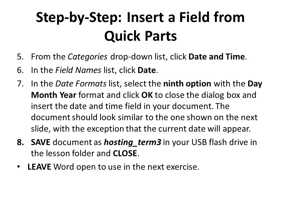 Step-by-Step: Insert a Field from Quick Parts