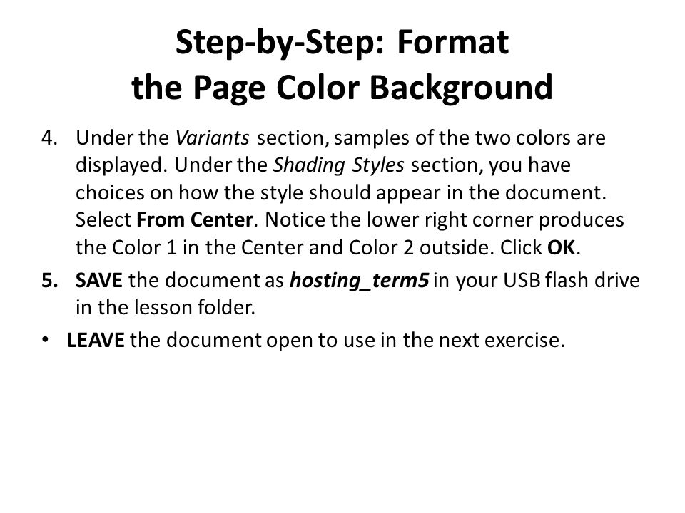 Step-by-Step: Format the Page Color Background