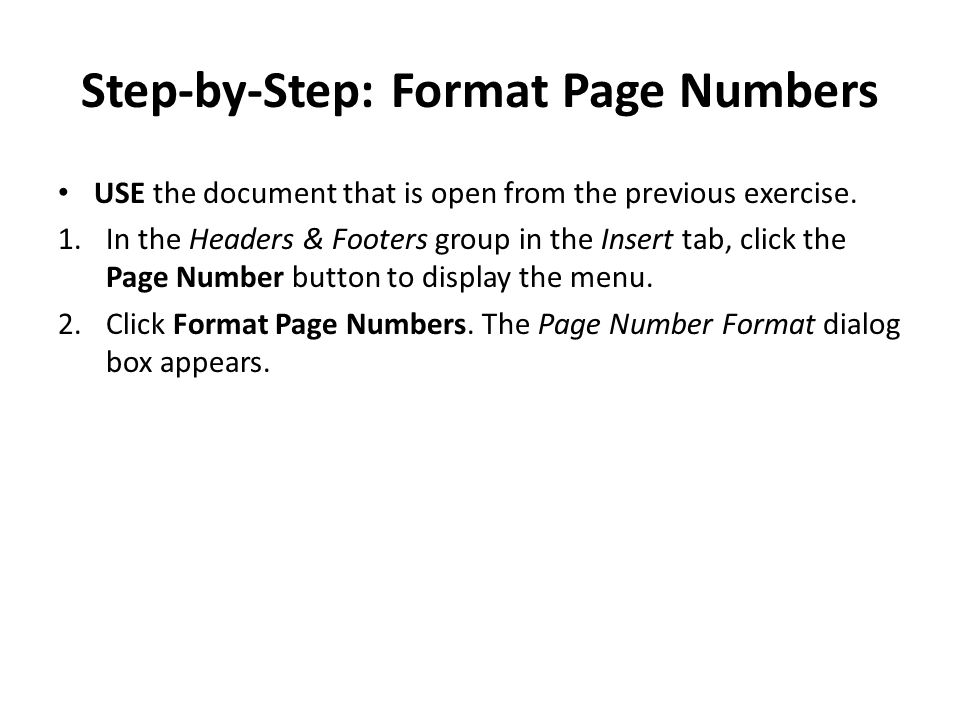 Step-by-Step: Format Page Numbers