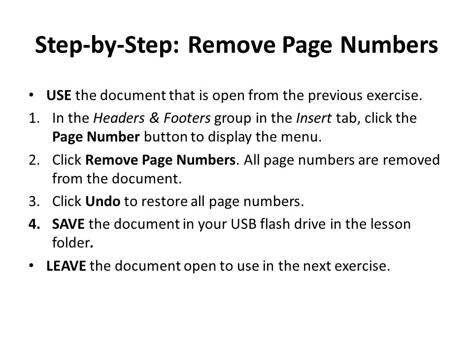 Step-by-Step: Remove Page Numbers