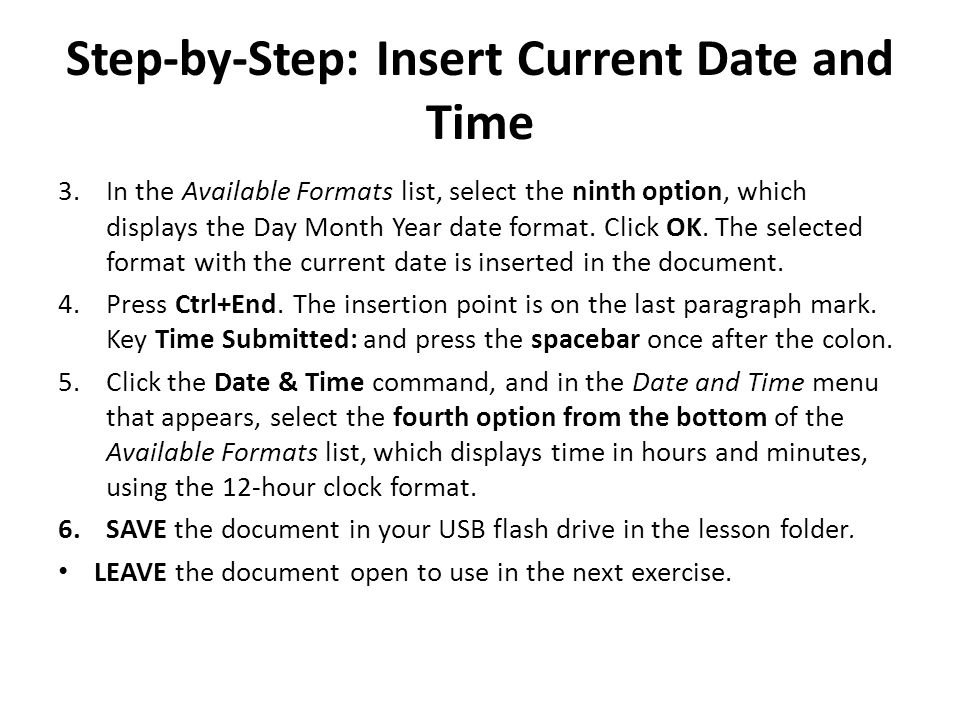 Step-by-Step: Insert Current Date and Time