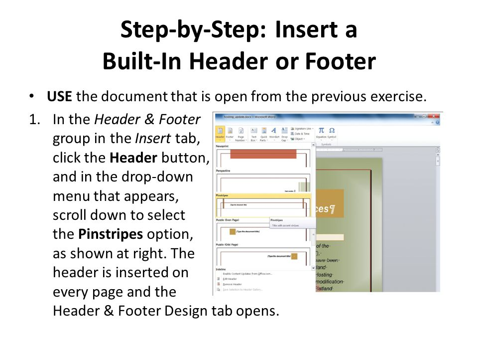 Step-by-Step: Insert a Built-In Header or Footer