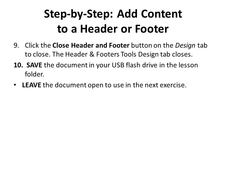 Step-by-Step: Add Content to a Header or Footer