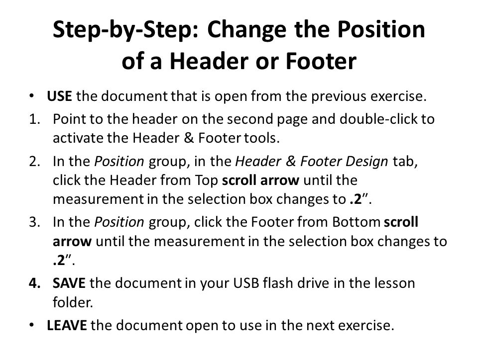 Step-by-Step: Change the Position of a Header or Footer