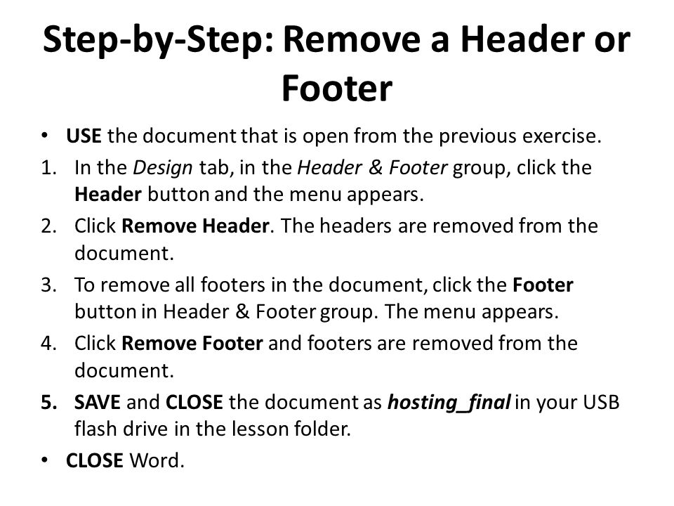 Step-by-Step: Remove a Header or Footer