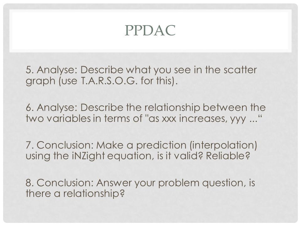 PPDAC 5. Analyse: Describe what you see in the scatter graph (use T.A.R.S.O.G. for this).