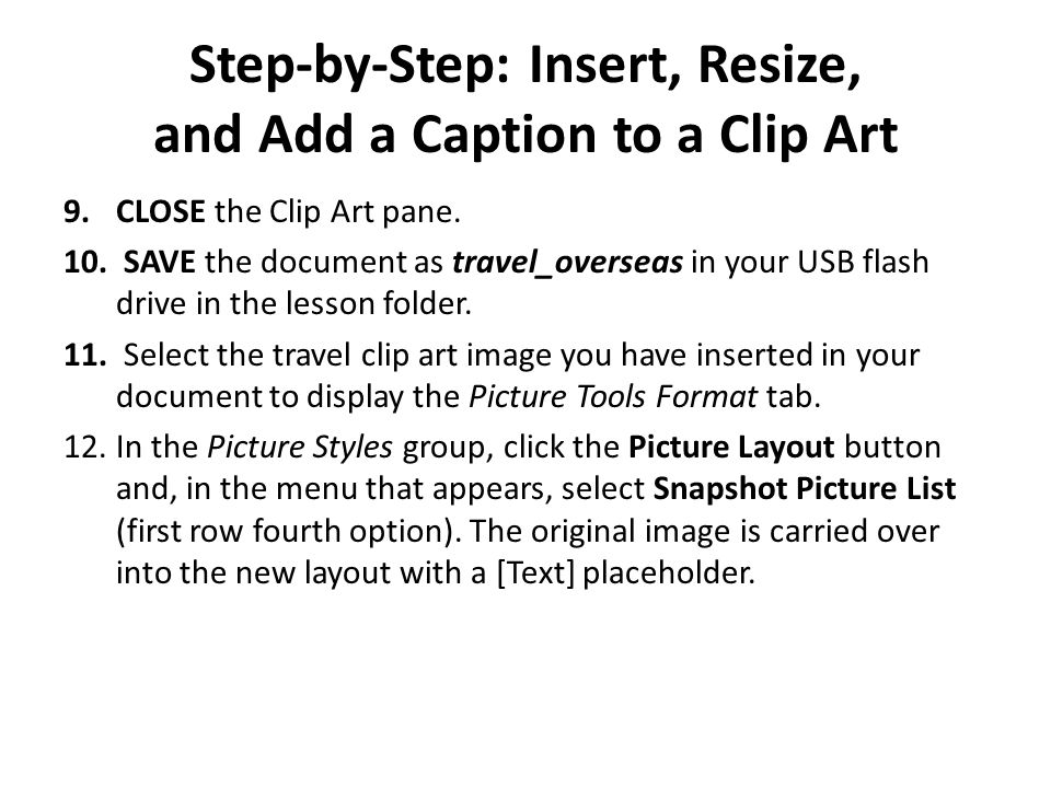 Step-by-Step: Insert, Resize, and Add a Caption to a Clip Art