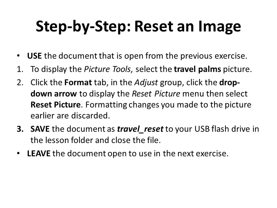 Step-by-Step: Reset an Image