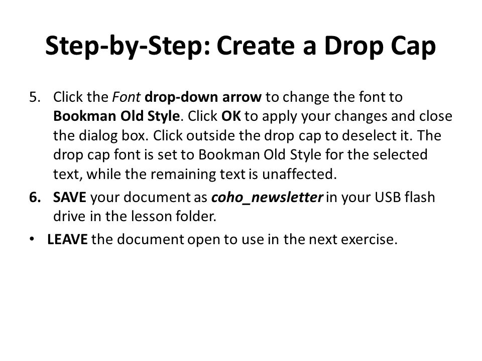 Step-by-Step: Create a Drop Cap