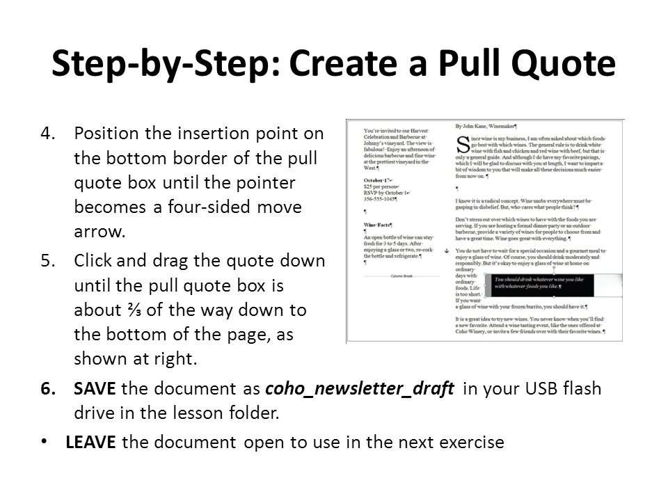 Step-by-Step: Create a Pull Quote