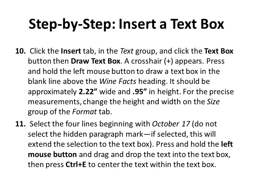 Step-by-Step: Insert a Text Box