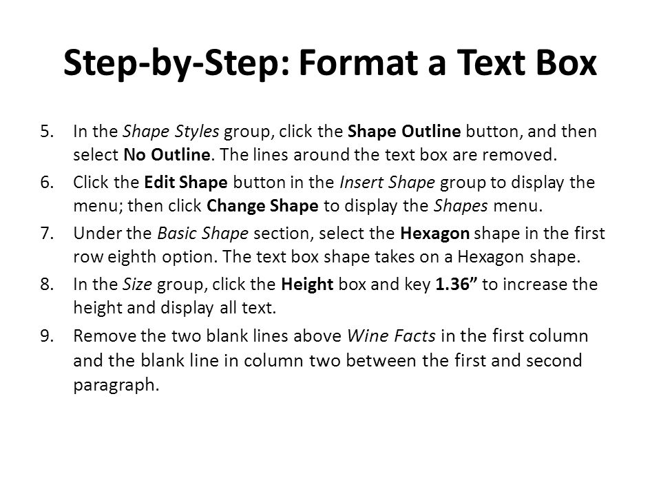 Step-by-Step: Format a Text Box