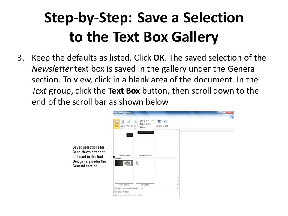 Step-by-Step: Save a Selection to the Text Box Gallery