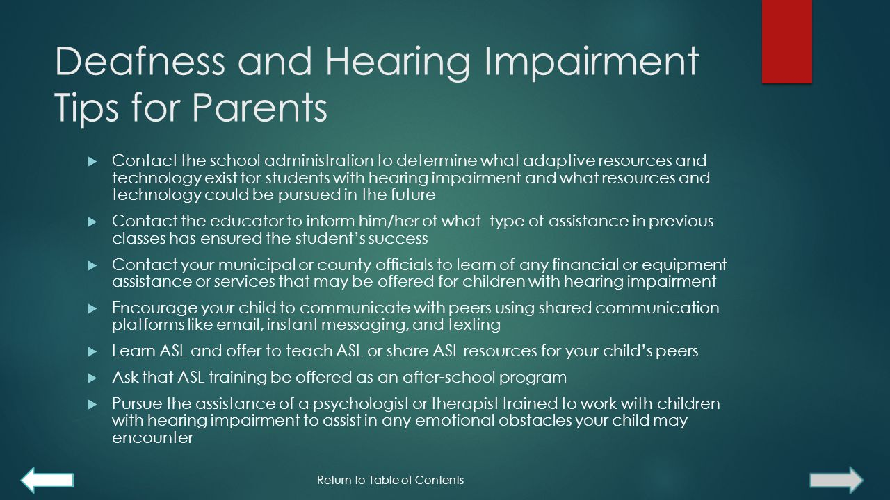 Deafness and Hearing Impairment Tips for Parents