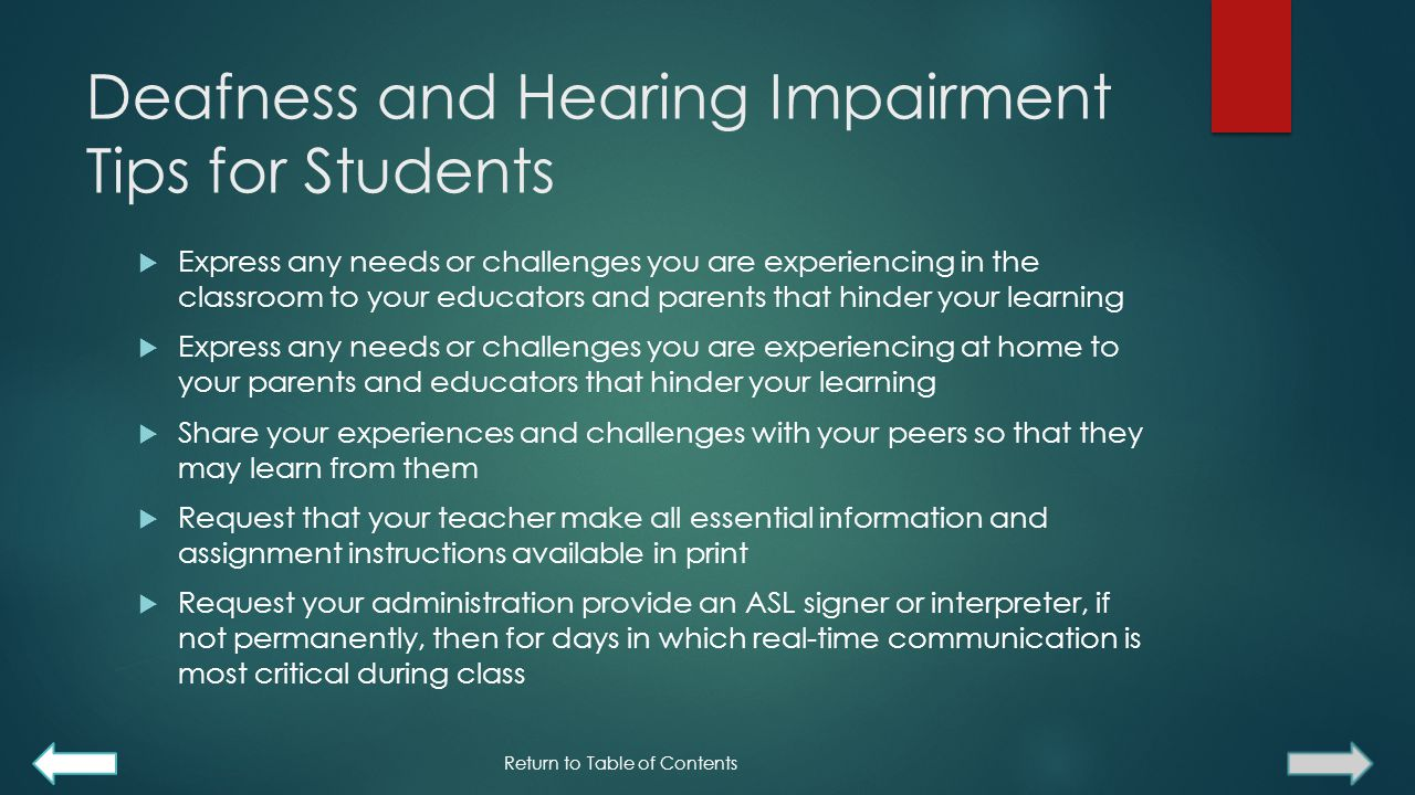 Deafness and Hearing Impairment Tips for Students