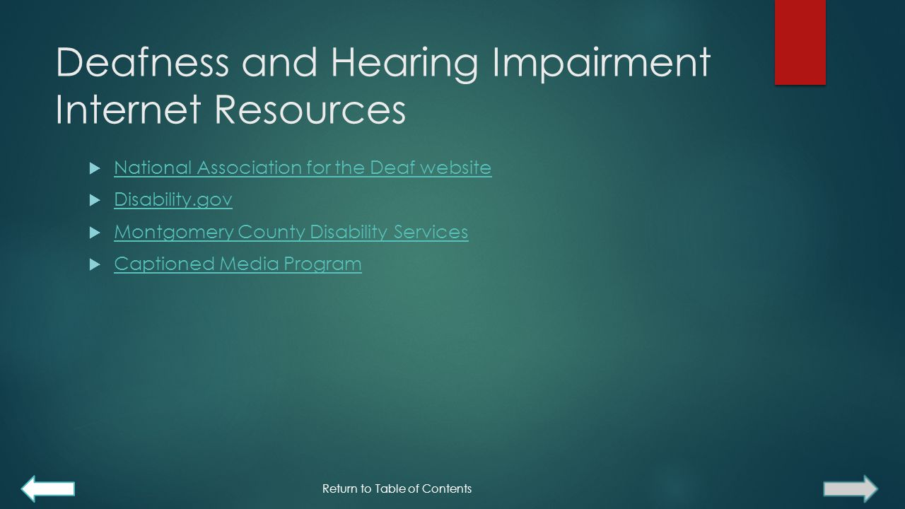 Deafness and Hearing Impairment Internet Resources
