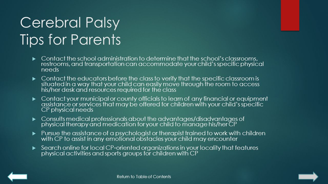 Cerebral Palsy Tips for Parents