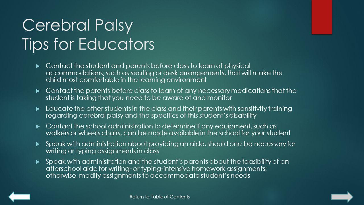 Cerebral Palsy Tips for Educators