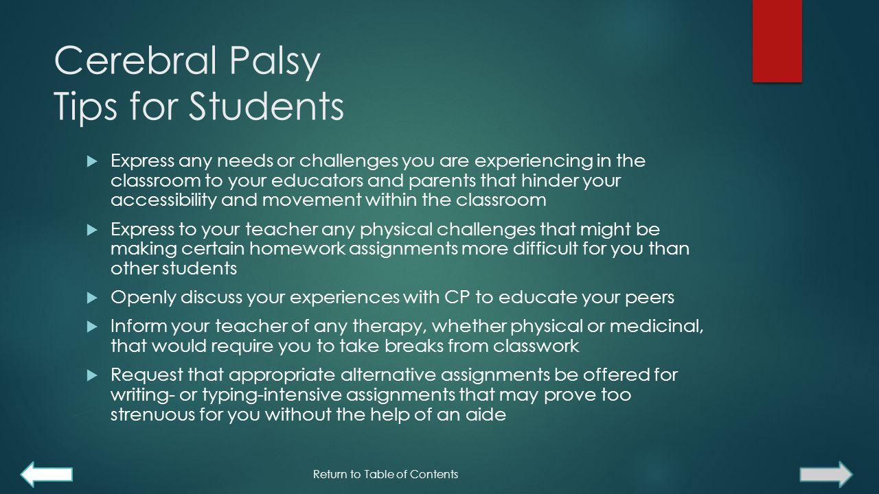 Cerebral Palsy Tips for Students