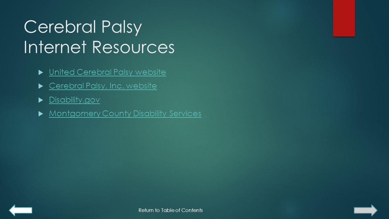 Cerebral Palsy Internet Resources