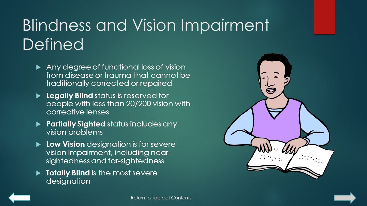Blindness and Vision Impairment Defined