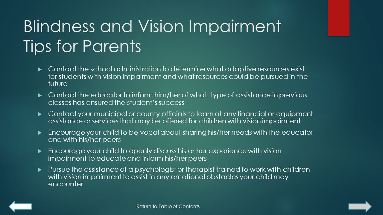 Blindness and Vision Impairment Tips for Parents