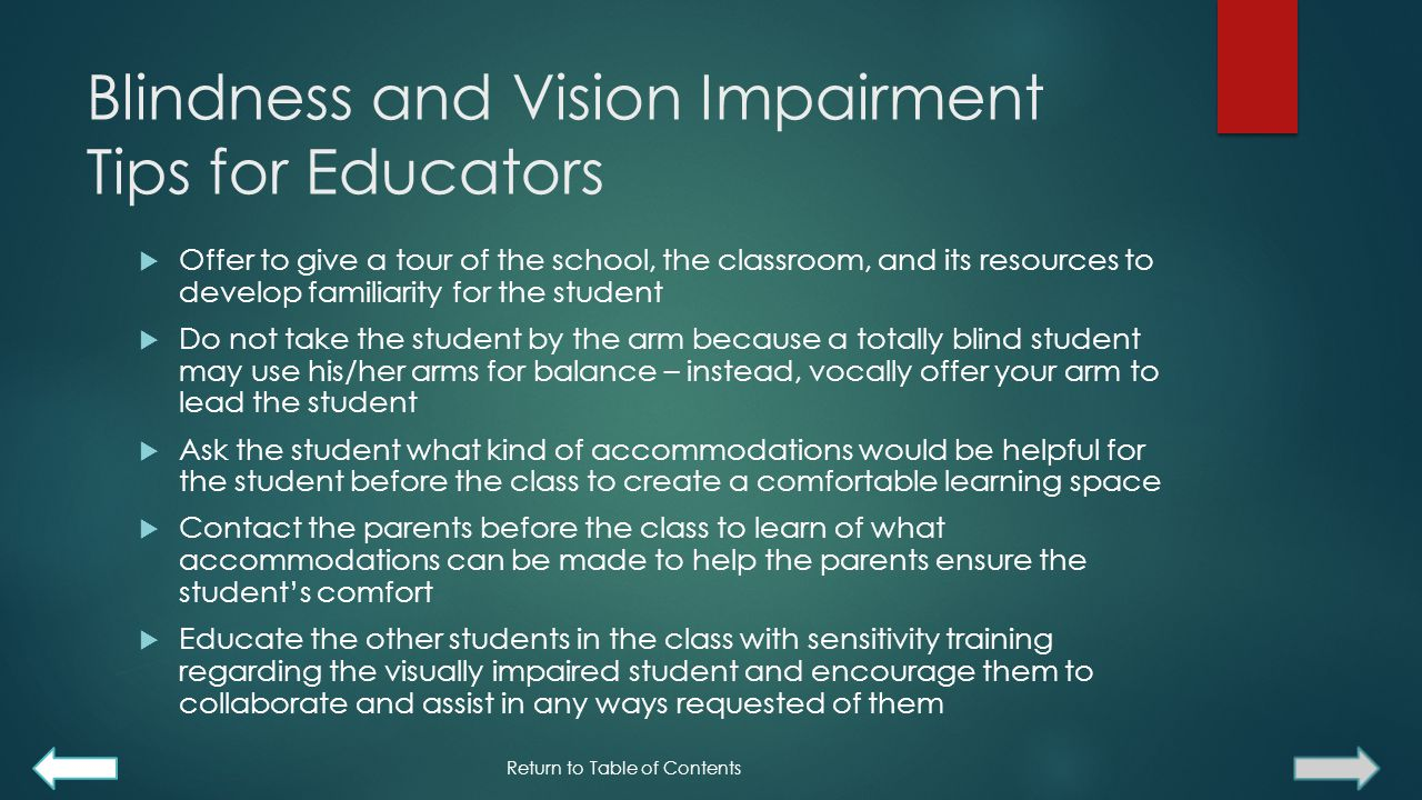 Blindness and Vision Impairment Tips for Educators