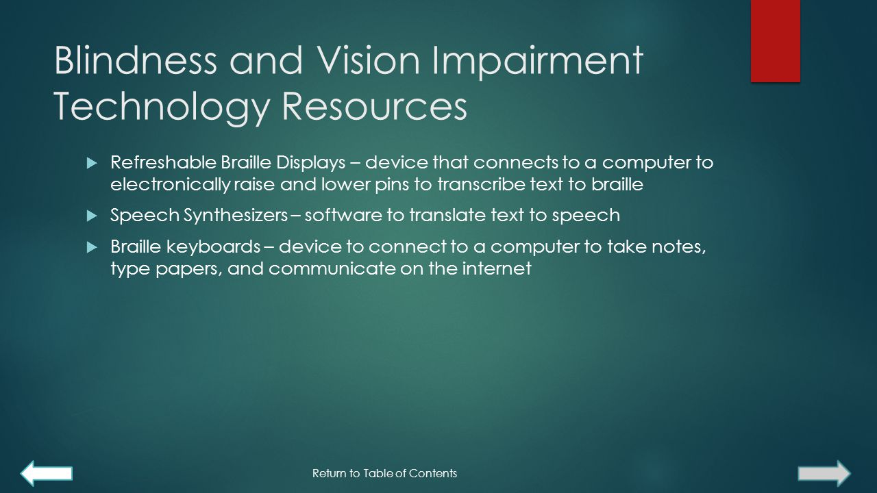 Blindness and Vision Impairment Technology Resources