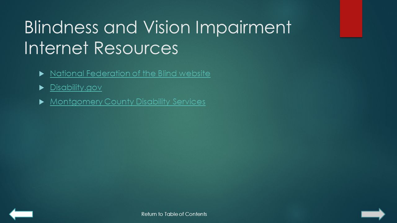 Blindness and Vision Impairment Internet Resources