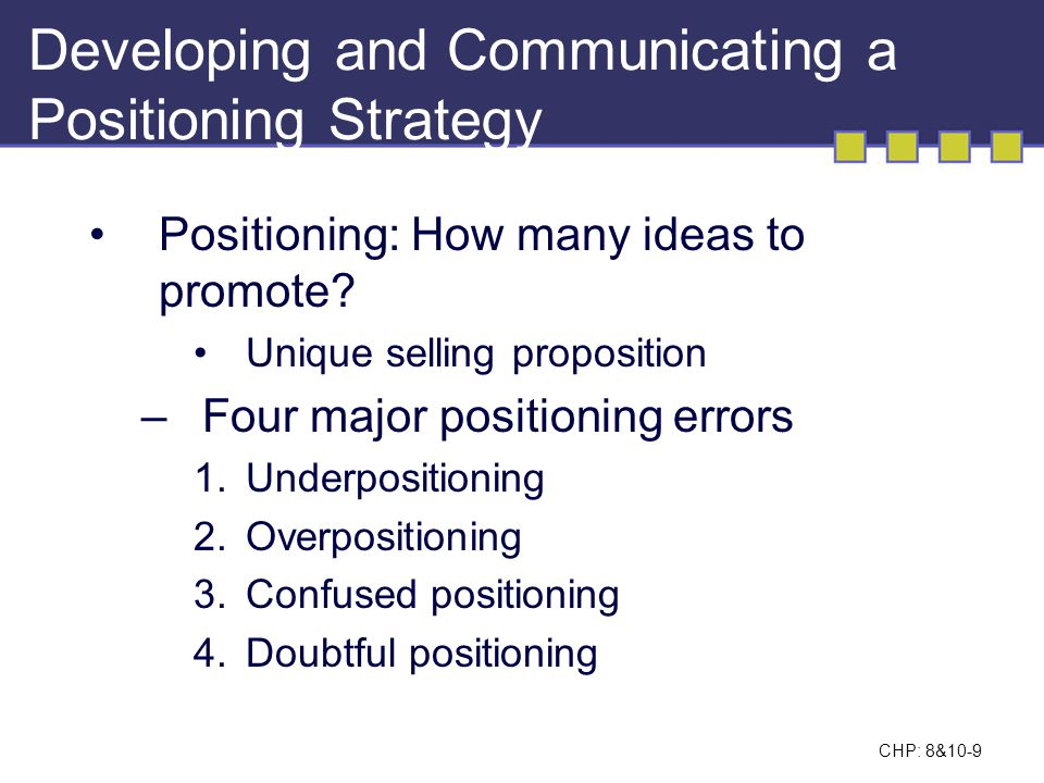 Developing and Communicating a Positioning Strategy