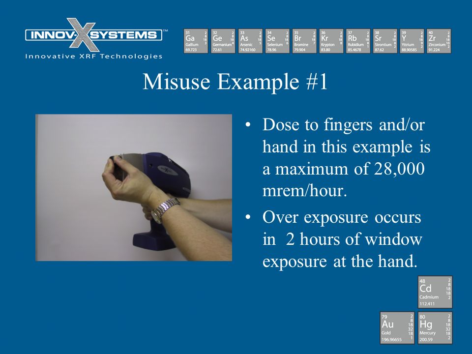 Misuse Example #1 Dose to fingers and/or hand in this example is a maximum of 28,000 mrem/hour.