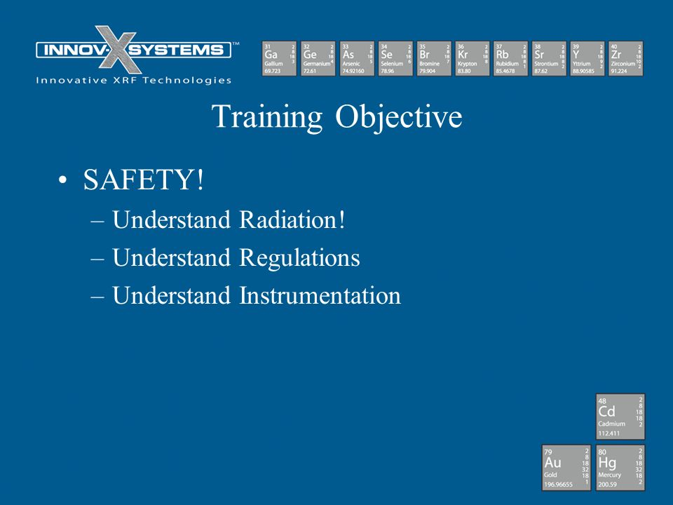 Training Objective SAFETY! Understand Radiation!